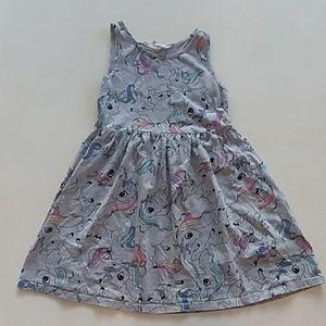 H&M 4-6 My Little Pony unicorn Gray tank dress